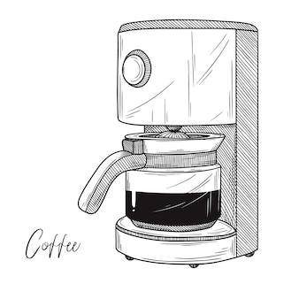 Desenho de cafeteira em fundo branco. ilustração em estilo de desenho.