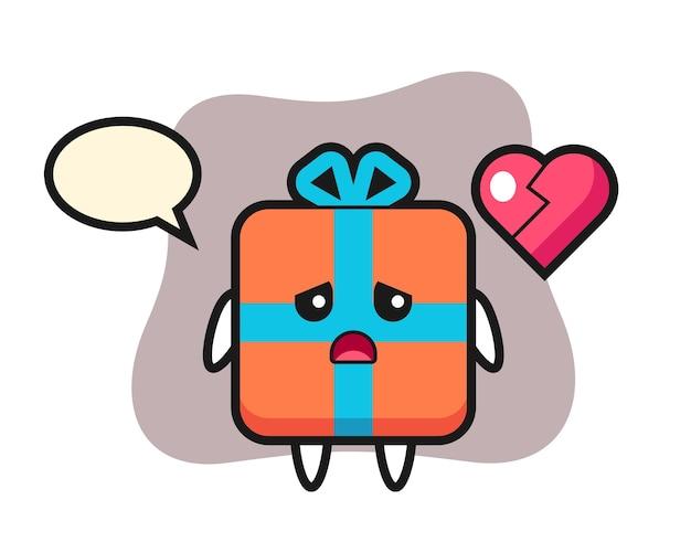 Desenho de caixa de presente com o coração partido