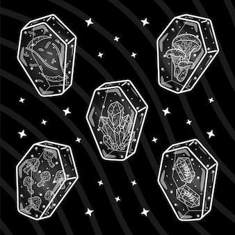 Desenho de caixões de halloween em preto e branco