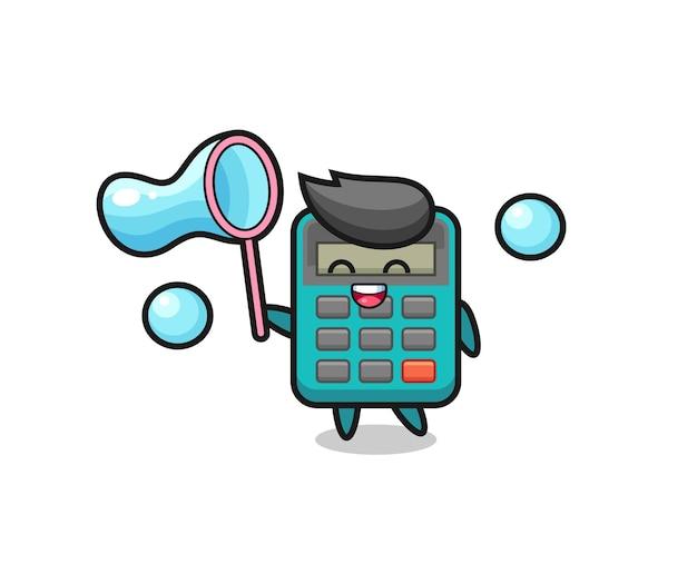 Desenho de calculadora feliz jogando bolha de sabão, design de estilo fofo para camiseta, adesivo, elemento de logotipo