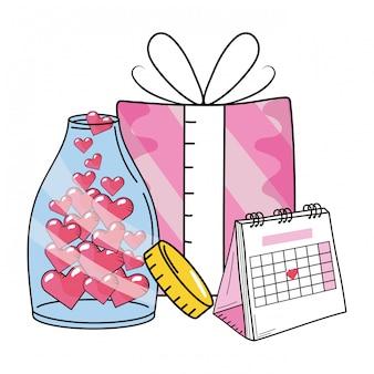 Desenho de calendário de dia dos namorados