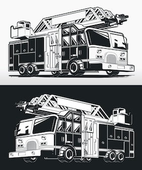 Desenho de caminhão de bombeiro silhueta