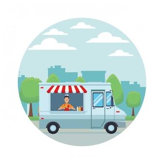 Desenho de caminhão de fast food
