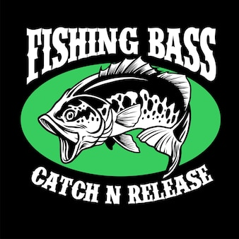 Desenho de camisa de pesca de peixes achigã