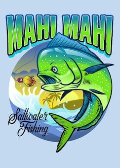 Desenho de camisa de pesca mahi mahi