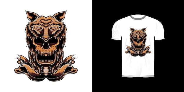 Desenho de camiseta com caveira e chapéu de lobo
