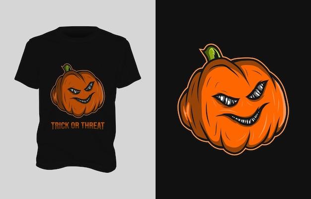 Desenho de camiseta com ilustração de abóbora