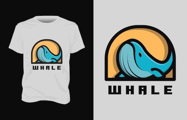 Desenho de camiseta com ilustração de baleia