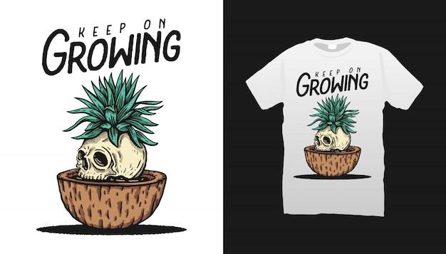 Desenho de camiseta com ilustração de crânio e planta