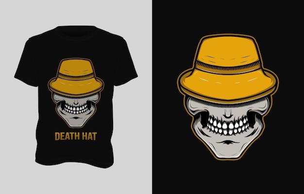 Desenho de camiseta com ilustração de crânio