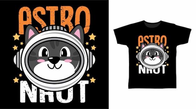 Desenho de camiseta com ilustração de gato astronauta fofo