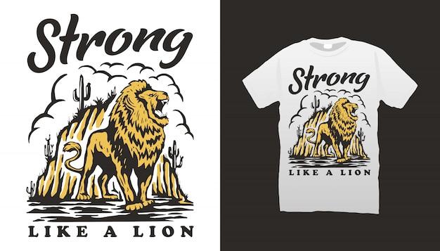 Desenho de camiseta com ilustração de leão