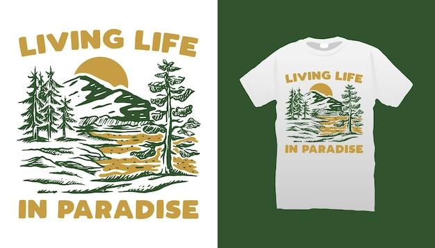 Desenho de camiseta com ilustração de montanha
