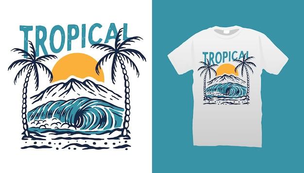 Desenho de camiseta com ilustração de praia