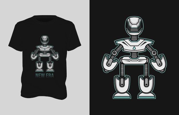 Desenho de camiseta com ilustração de robô