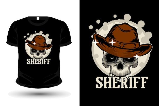Desenho de camiseta com ilustração de xerife e caveira
