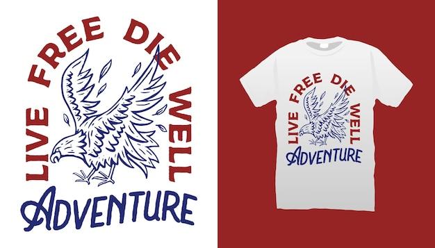 Desenho de camiseta com ilustração eagle