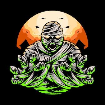 Desenho de camiseta com ilustração vetorial de fantasia de múmia halloween