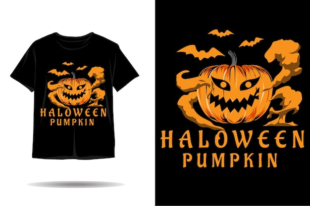 Desenho de camiseta com silhueta de abóbora de halloween