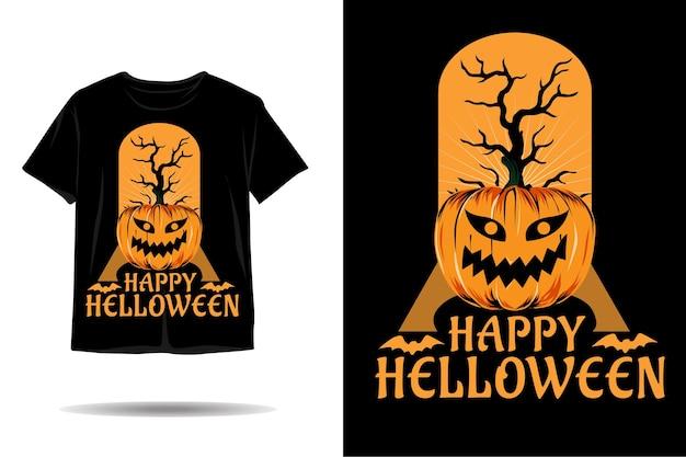 Desenho de camiseta com silhueta de abóbora feliz para o dia das bruxas