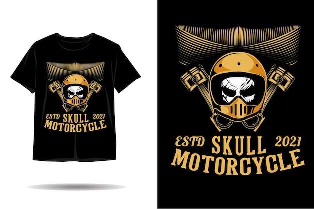 Desenho de camiseta com silhueta de capacete vintage em crânio