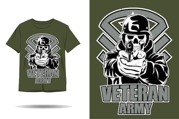 Desenho de camiseta com silhueta de exército de veterano em crânio