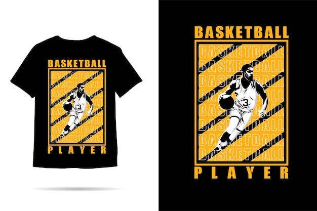 Desenho de camiseta com silhueta de jogador de basquete