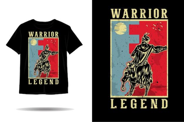 Desenho de camiseta com silhueta de lenda do guerreiro