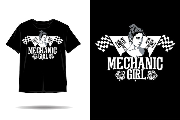 Desenho de camiseta com silhueta de menina mecânica