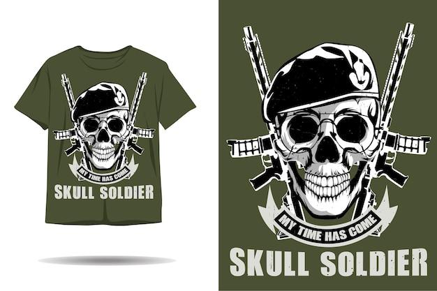 Desenho de camiseta com silhueta de soldado em caveira