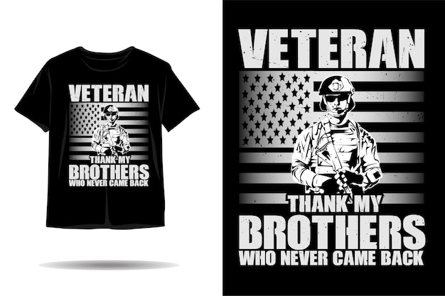 Desenho de camiseta com silhueta de soldado veterano