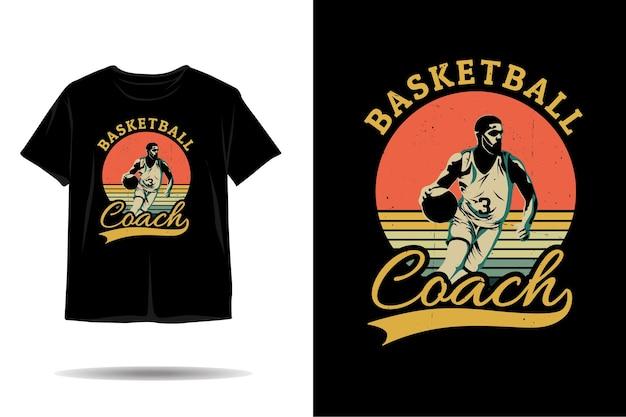 Desenho de camiseta com silhueta de treinador de basquete Vetor Premium