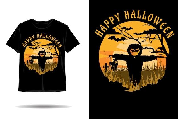 Desenho de camiseta com silhueta feliz para o dia das bruxas
