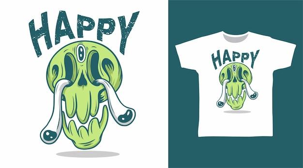 Desenho de camiseta de doodle de cabeça de crânio verde