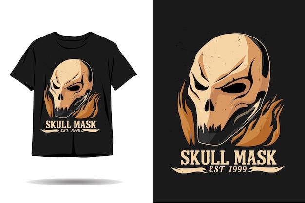 Desenho de camiseta de silhueta de máscara de crânio