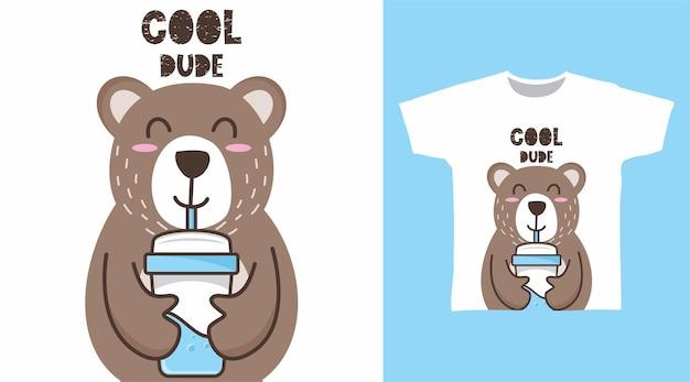Desenho de camiseta de urso fofo para beber água