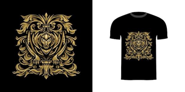 Desenho de camiseta dente de sabre com ornamento de gravura para desenho de camiseta