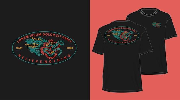 Desenho de camiseta desenhada à mão com cabeça de dragão monoline