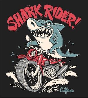 Desenho de camiseta do shark rider em motocicleta