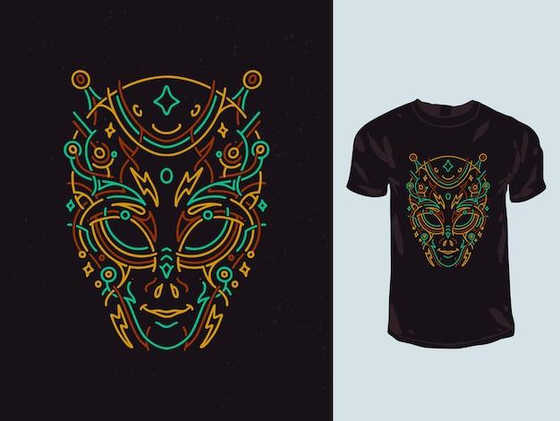 Desenho de camiseta monoline com geometria e rosto alienígena