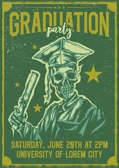 Desenho de camiseta ou pôster com ilustração de graduação de esqueleto