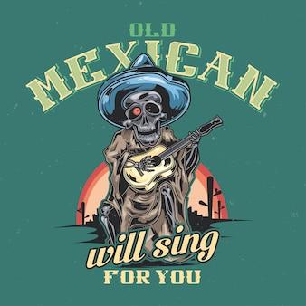 Desenho de camiseta ou pôster com ilustração de músico mexicano