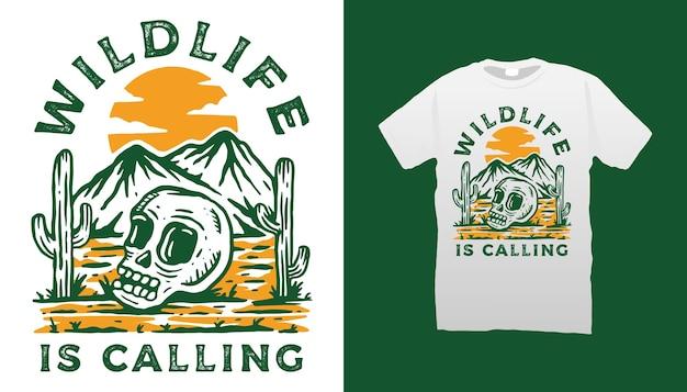 Desenho de camiseta para deserto e caveira