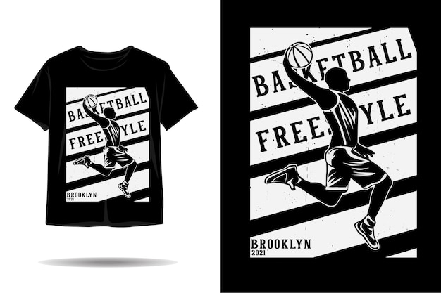 Desenho de camiseta silhueta de basquete freestyle brooklyn 2021
