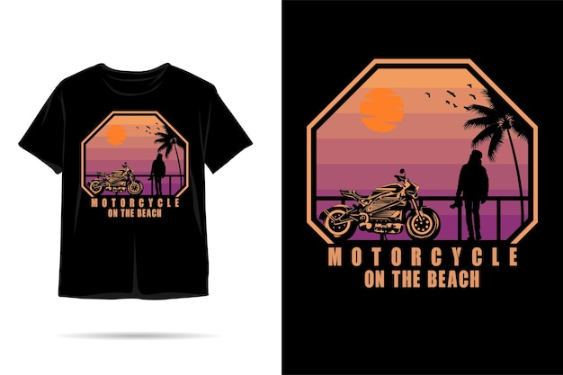 Desenho de camiseta silhueta de motocicleta na praia