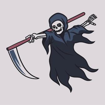 Desenho de camiseta vintage. ceifador deslizando segurando seu machado.