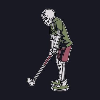 Desenho de camiseta vintage com o crânio acertar a bola com uma ilustração de golfe em bastão
