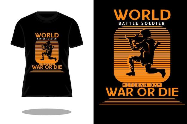 Desenho de camiseta vintage com silhueta de soldado de batalha mundial
