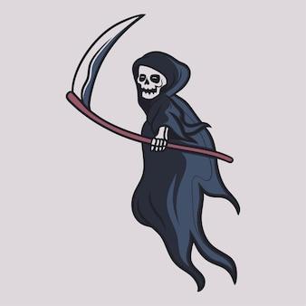 Desenho de camiseta vintage grim reaper brandindo sua ilustração de machado