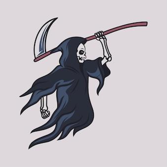 Desenho de camiseta vintage grim reaper correu com uma grande ilustração de machado
